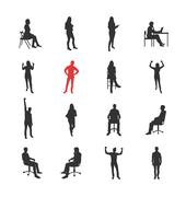 People, male, female silhouettes in different casual common poses Stock Illustration