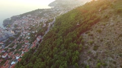 Aerial view of the cableway above Dubrovnik at sunset Arkistovideo