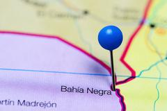 Bahia Negra pinned on a map of Paraguay Stock Photos