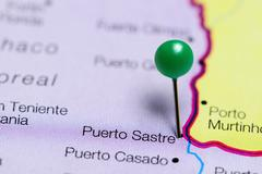 Puerto Sastre pinned on a map of Paraguay Stock Photos