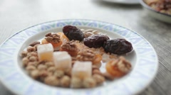 Plate with oriental sweets shot in close-up. Stock Footage