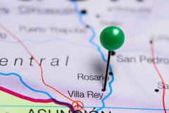 Villa Rey pinned on a map of Paraguay Stock Photos