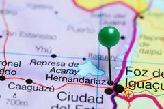 Hernandariaz pinned on a map of Paraguay Stock Photos