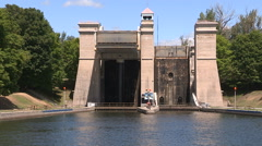 Historic worlds tallest lift lock in Peterborough Canada exterior Stock Footage