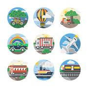 Mode of transport color detailed vector icons set Stock Illustration