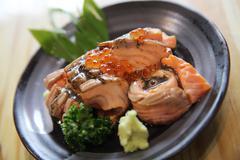 Grilled Salmon sashimi Stock Photos