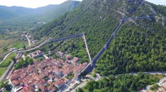 Aerial view of salt producing town of Ston Stock Footage