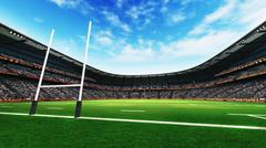 Rugby stadium with green grass at daylight Stock Illustration