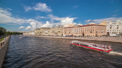 Fontanka river in St. Petersburg, one of the tributaries of the Neva River Stock Footage