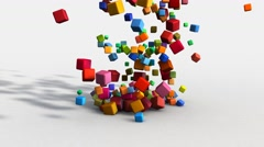 Marketing Concept with Falling Cubes and Blocks on White Stock Footage