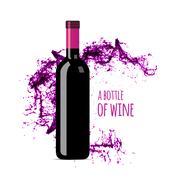 Red wine splash with bottle - stock illustration