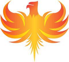 Flaming phoenix logo illustration Stock Illustration