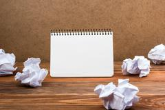 White blank paper notepad book at office worplace. Copy space Stock Photos