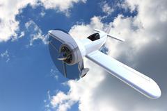 Propeller plane against the sky. 3D render Stock Illustration