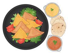 Samosa plate Stock Illustration