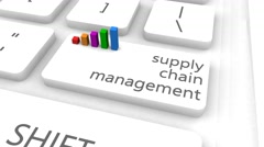 Supply Chain Management With One Keyboard Button Click Stock Footage