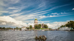 Summer day in the city of Vyborg,views of the Castle and the Tower of Olaf Stock Footage