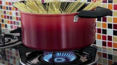 Spaghetti In A Boiling Pot Cooking For An Italian Lunch Stock Footage