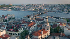 High quality shot of Istanbul Sunset Panorama. View from Galata Tower Stock Footage