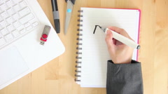 Graphic Designer Writing Idea On Notebook With Felt Pen Marker Office Desktop Stock Footage
