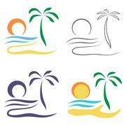 Abstract Palm tree on island. Stock Illustration