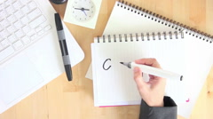 Businesswoman Writing Concept On Notebook With Felt Pen Marker Office Desktop Stock Footage