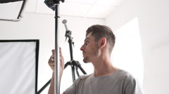 Backstage of photosession in studio Stock Footage