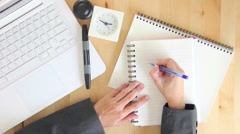 Businesswoman Writing On Notebook And Make A Crumpled Paper Stock Footage