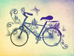 Bicycle and Floral Ornament Grunge - stock illustration