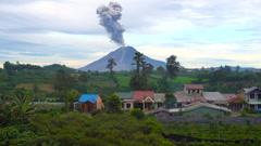 Sinubung volcano eruption North Sumatra - stock footage