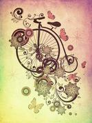 Old Bicycle and Floral Ornament Grunge - stock illustration