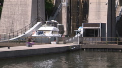 Exteriors of tallest hydraulic lift lock in the world in Peterborough Stock Footage