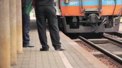 Train Stop At Platform Stock Footage