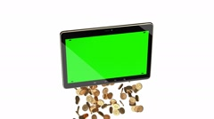 Falling and spinning golden coins from tablet PC. Stock Footage