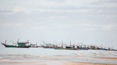 Cloudy Day Long Shot Local Fisherman Boat Moor On The Low Tide Time Stock Footage