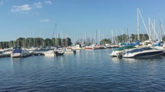 Chicago belmont harbor boats Stock Footage