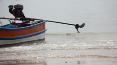 Local Fisherman Boat Propellers On The Low Tide Time Stock Footage