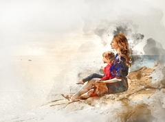 Digital watercolor painting of a mother and daughter Stock Illustration