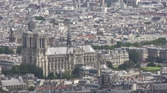 Notre Dame Cathedral From Top Of Montparnasse Tower, Paris Stock Footage