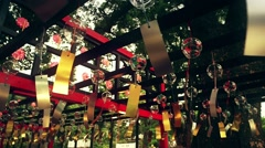 Japanese glass bells in shinto shrine. Slow motion panning. Stock Footage