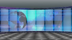News TV Studio Set 200- Virtual Green Screen Background Loop - stock footage