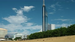 Fukuoka - Beach view with Fukuoka Tower. 4K resolution Stock Footage
