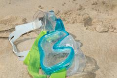 Photo picture of a diving mask on the sand beach Kuvituskuvat