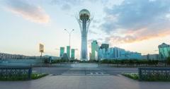 Monument Baiterek in Astana, capital Kazakhstan Stock Footage