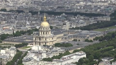 Aerial View Hotel des Invalides In Paris, France Stock Footage