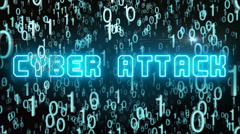 Bluish Cyber Attack concept with digital code Stock Footage