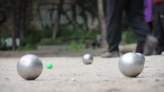 Couple Playing Petanque In Paris, France Stock Footage