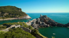Portovenere view from above - Church of St. Peter, Liguria, Italy Stock Footage