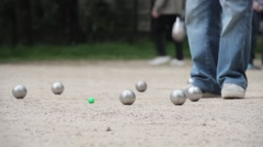 Gathering Boules After Match Of Petanque Stock Footage