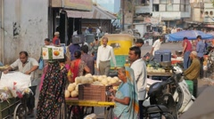 Street market in old town,Ahmedabad,India Stock Footage
